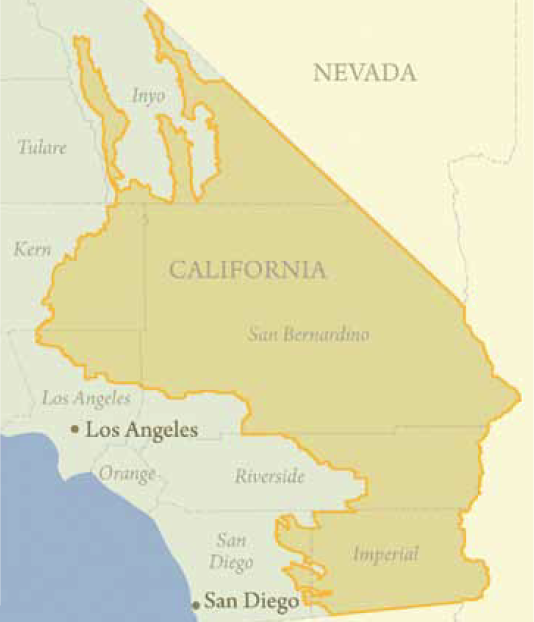 The DRECP Plan Area is focused on the Mojave and Colorado desert regions and adjacent lands of seven California counties - Imperial, Inyo, Kern, Los Angeles, Riverside, San Bernardino, and San Diego. The Plan Area covers about 22,587,000 acres.