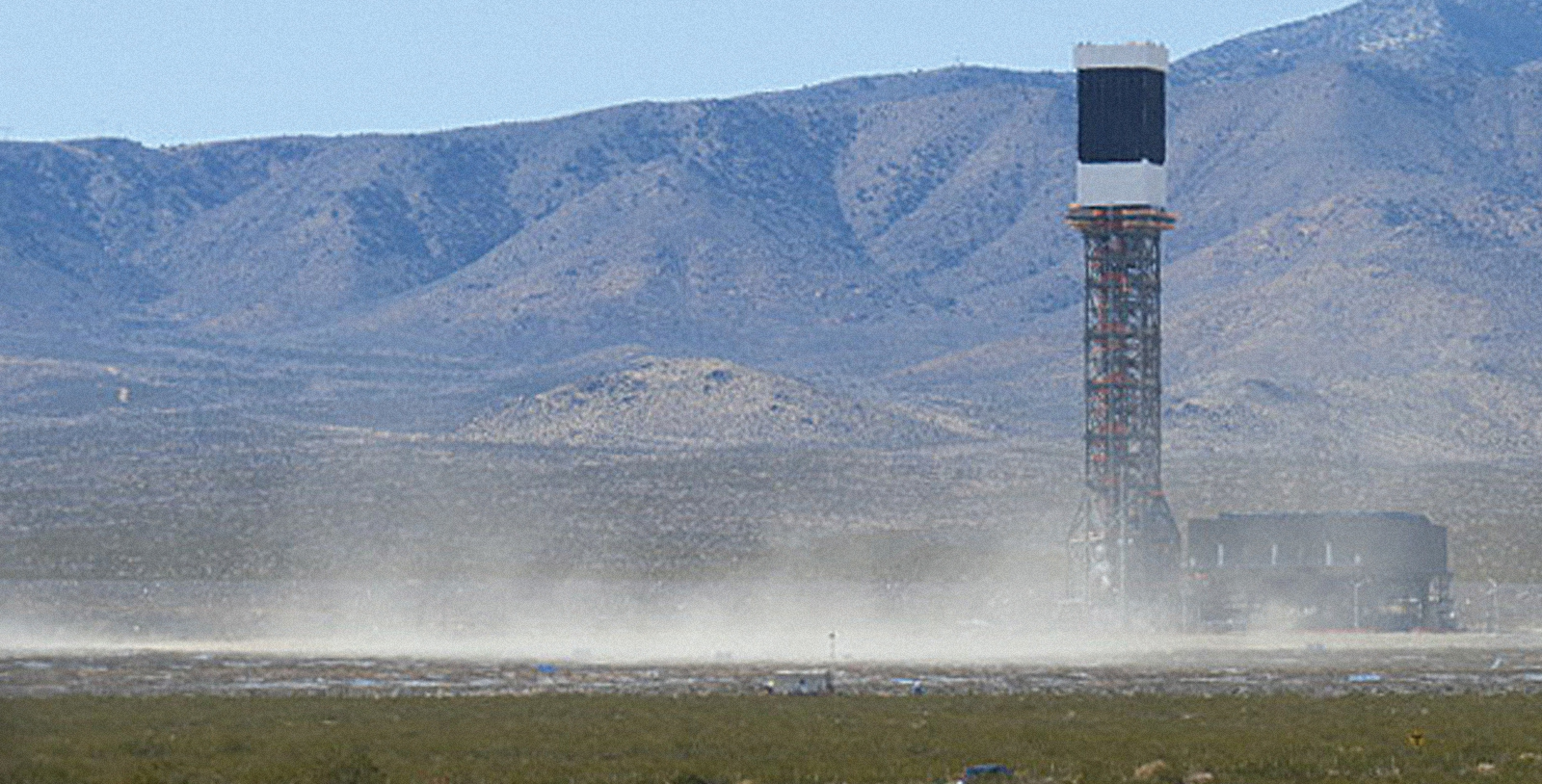 Dust blowing at the Ivanpah Solar Energy Facility. Photo by Basin and Range Watch
